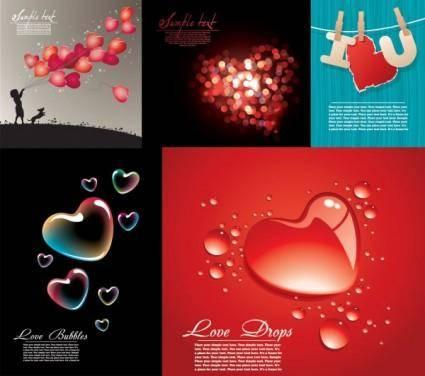free vector Five beautiful heartshaped vector love theme