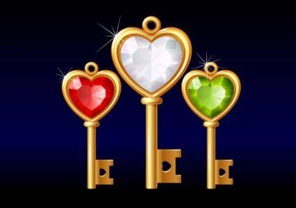 3 gold diamond heartshaped key vector