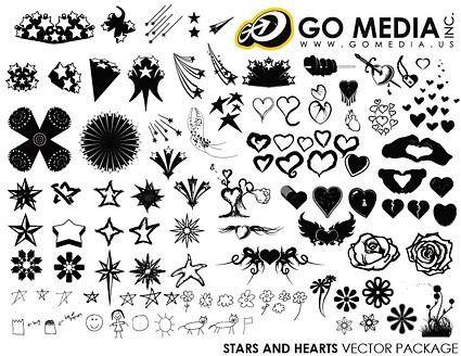 Go media produced vector heartshaped and star series