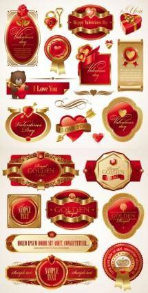 free vector Romantic valentine39s day red label vector