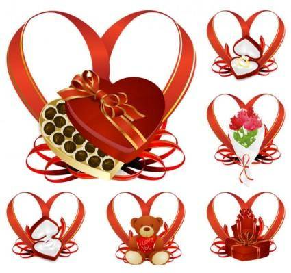 free vector Heartshaped ribbon with a gift vector