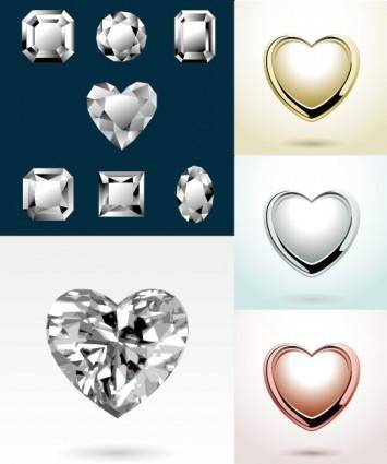 free vector Heartshaped vector diamond jewelry pendant