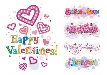 free vector Happy valentine day wordart vector