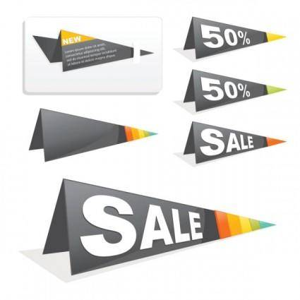 Sales tag origami 02 vector