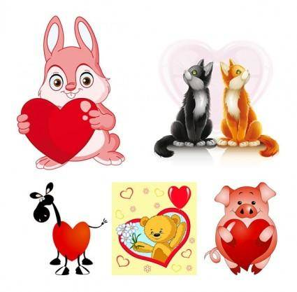 Valentine cute animals vector