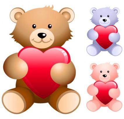 free vector Teddy bear holding a heartshaped vector