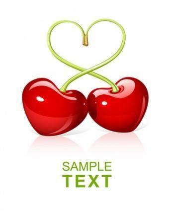 free vector Heartshaped vector cherry