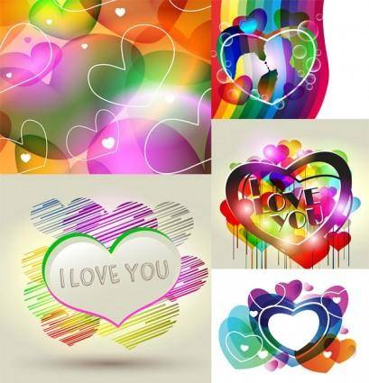 free vector Combination of fashion heartshaped vector 2