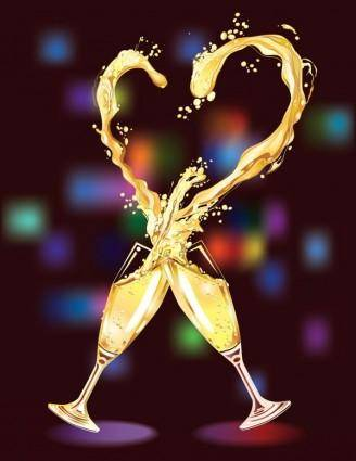 free vector Heartshaped vector 3 champagne