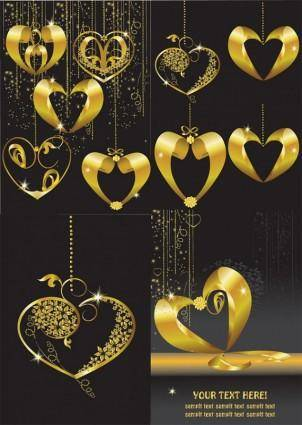 Gold heartshaped pendant vector