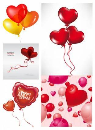 Romantic heartshaped balloons vector