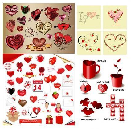 free vector Romantic heartshaped element vector