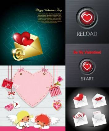 Valentine day romantic elements vector