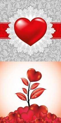 free vector Romantic valentine day heartshaped elements vector