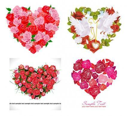 free vector Composed of vector love roses