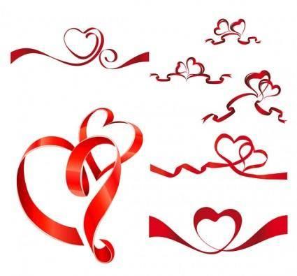 free vector Heartshaped vector ribbon