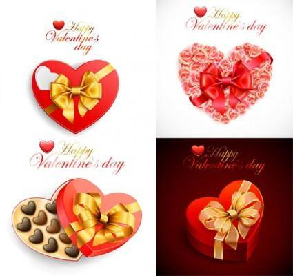free vector Romantic valentine day heartshaped gift box vector