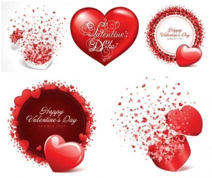 Romantic valentine day cards vector