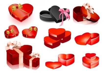 free vector Valentine day heartshaped gift box vector