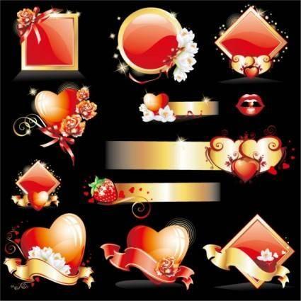 Glittering love element vector