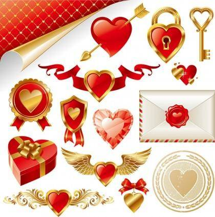 Gold love element vector