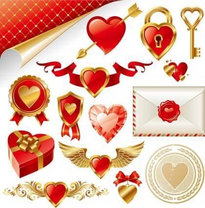 Gold love element vector