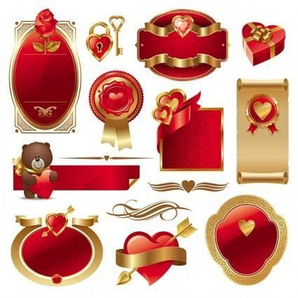 Romantic love element vector 25664