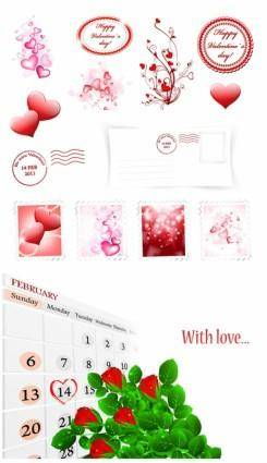 free vector Romantic valentine day element vector