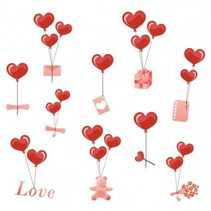 free vector Valentine day heartshaped balloons element vector