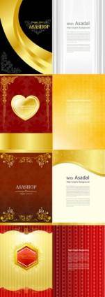 Gold valentine day greeting card template vector