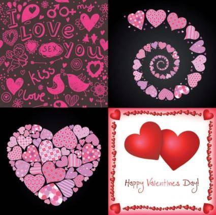 4 lovely valentine day vector elements