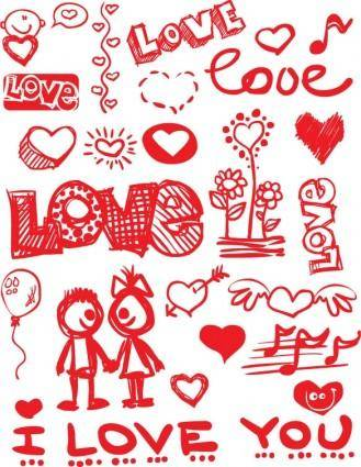 Graffitistyle valentine day vector elements