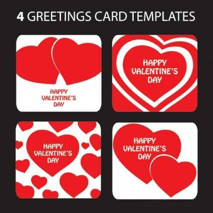 Valentine day heartshaped greeting card template vector