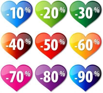 free vector Discount crystal heartshaped vector