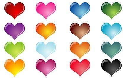 Colorful crystal heartshaped vector effect