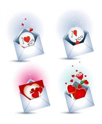 free vector Love letter theme vector