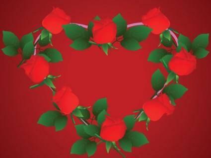 free vector Heartshaped rose border clip art