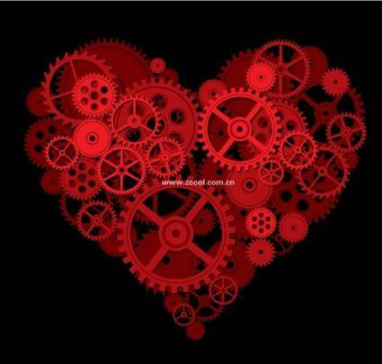 free vector By a gear composed of a large peach heart vector