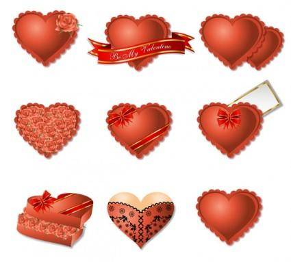 free vector Romantic heart-shaped gift box packaging vector