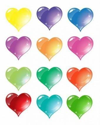 free vector Colorful Heart Love Vector Set