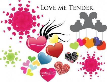 free vector Love me tender - Various Hearts