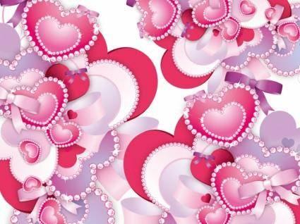 free vector Diamond Hearts Vector