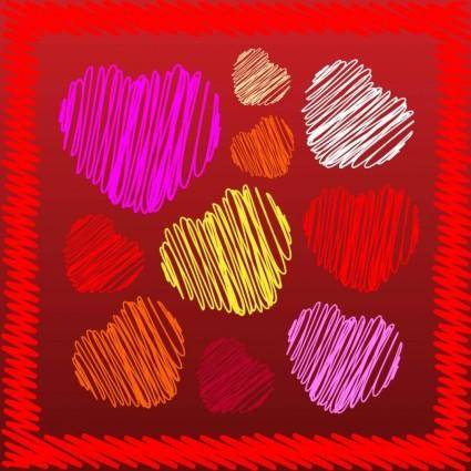 Heart Scribbles Vectors