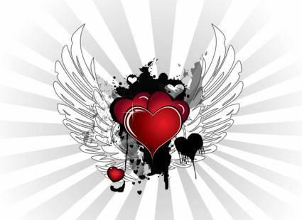 free vector Grunge Valentine Hearts