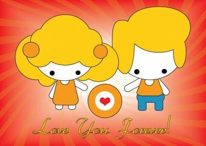 free vector Vector Love Card