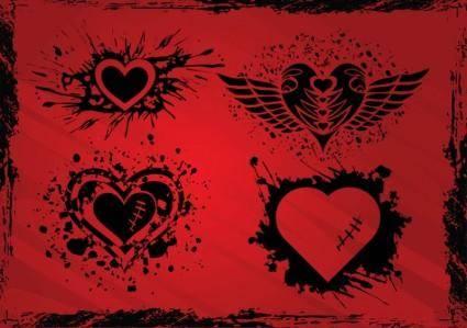 free vector Grunge Hearts