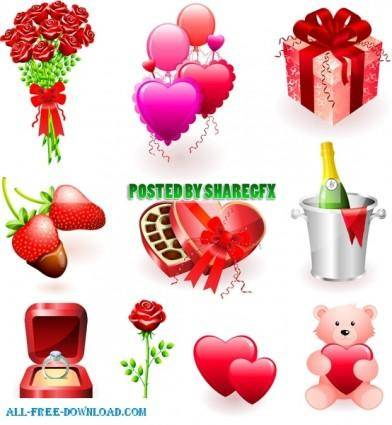 free vector Valentines day gift and bucket