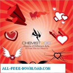 free vector Hearts Of Different Arts