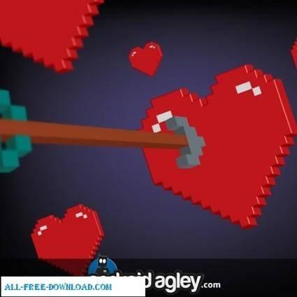 Vector 3D Pixel Heart and Arrow
