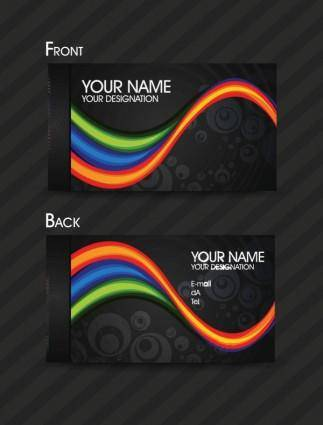 Dynamic color business card templates 03 vector